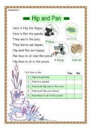 English Worksheets: Hip and Pan - reading comprehension