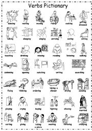 English Worksheet: -ingVerbs Pictionary