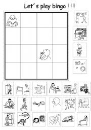 English Worksheet: Lets Play Bingo!!!! (with verbs vocabulary)