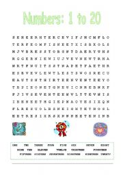 Numbers: word search
