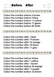 English Worksheet: numbers before and after black and white