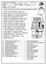 English Worksheet: TO BE : PAST TENSE  ( 2 PAGES)