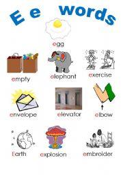 English Worksheets: e E words