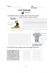 English Worksheets: Animals I
