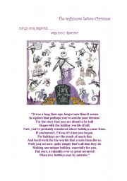 English Worksheet: THE NIGHTMARE BEFORE CHRISTMAS PART 1