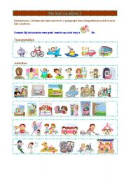 English Worksheet: My vacations 2