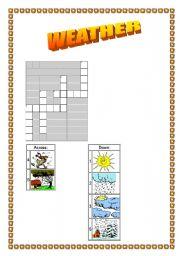 English Worksheet: WEATHER CROSSWORD !!!!!!!!!!