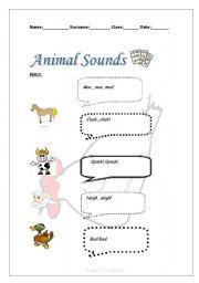 English worksheet: Animal Sounds