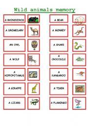English Worksheets: WILD ANIMALS MEMORY !!!!!!!!!!!!!!