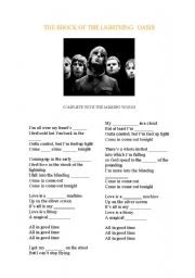 English Worksheets: Oasis- The shock of the lightning