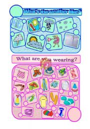 English Worksheet: WHAT IS THE WEATHER LIKE, WHAT ARE YOU WEARING ?