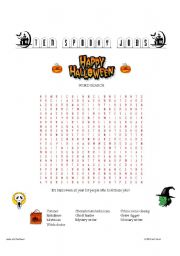 English Worksheet: Ten Spooky Jobs Word Search