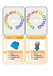 English Worksheet: cards game - fashion and clothing