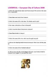 English Worksheet: LIVERPOOL, European city of culture 2008