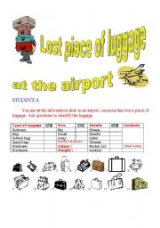 English Worksheets: Lost piece of luggage PAIR WORK ( Student A )