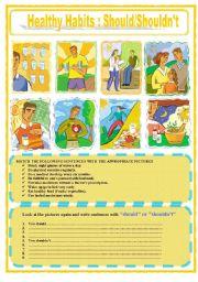 English Worksheet: Healthy Habits  :  Should / Shouldn´t