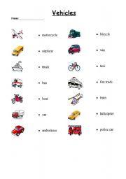Vocabulary worksheets > The transports > Vehicles > Vehicle Matching