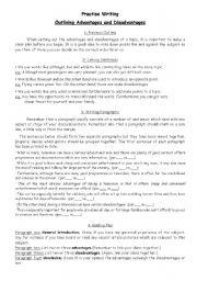 English Worksheets: Writing Practice: Advantages vs. Disadvantages