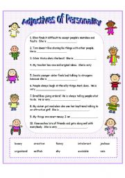 English Worksheet: Adjectives of Personality