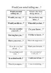 English Worksheets: Would you mind telling me?