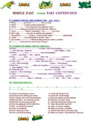 Past  Continuous versus Simple Past : 2 pages of exercises with different degrees of difficulty