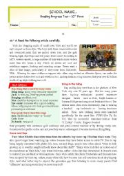 English Worksheets: RAP STYLE - Reading Comprehension Test