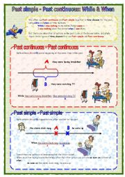 English Worksheet: Past simple - Past continuous: while & when
