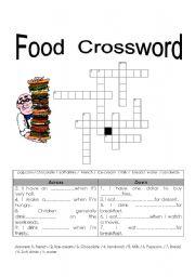 English Worksheet Food Crossword