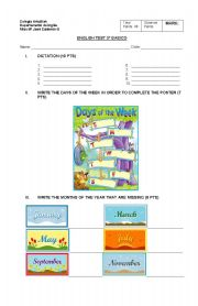 English Worksheet: test on days of the week, months, dates