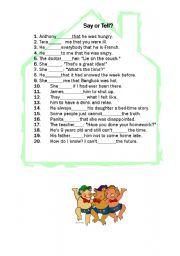 English Worksheet: Say or Tell Quiz