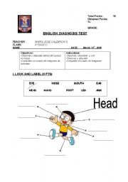 English Worksheet: diagnostic test for elementary school students (4th grade)