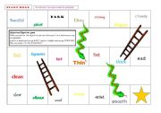 English Worksheet: Snakes and Ladders Adjectives and Opposites Game