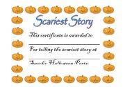 English worksheet: Halloween Award Certificate 1