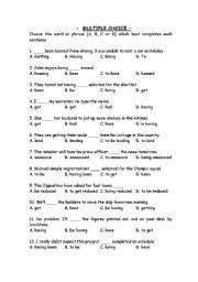English teaching worksheets: Multiple choice