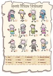 English Worksheet: Sports Picture Dictionary