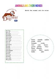 English Worksheets: ANIMALS AND THEIR NOISES
