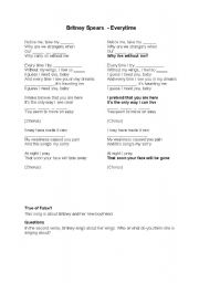 English Worksheet: Britney Spears - Everytime