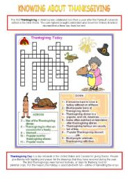 English Worksheets: Knowing about Thanksgiving - activity 1