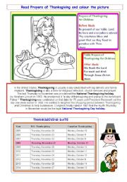 English Worksheet: Knowing about Thanksgiving - activity 2