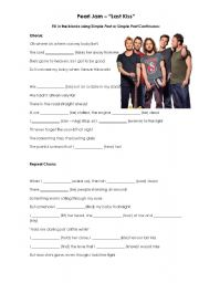 English Worksheet: Song Activity - LAST KISS - Pearl Jam