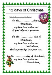 12 days of Christmas : numbers revision (song)