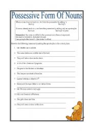 English Worksheet: Possessive form of nouns