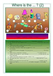 English Worksheets: Where is the ...? (2)