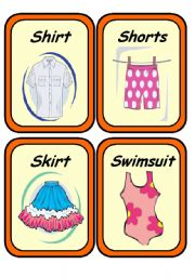 19 CLOTHES FLASHCARDS Set 1/2