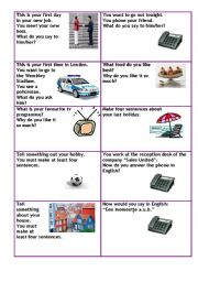 Conversation cards level A1 business 1/5