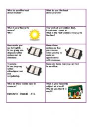 English Worksheet:   Conversation cards level A1 business 5/5