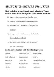 English worksheets: Adjective/Article Practice
