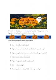 Its The Great Pumpkin Charlie Brown!!    Worksheet and VDO