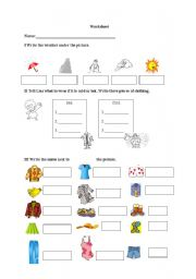 English Worksheet: Clothes and weather