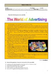 English Worksheet: Test - The world of advertising